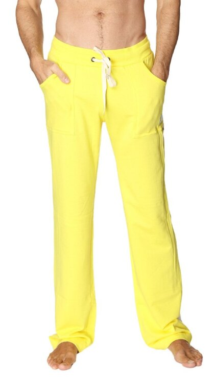 Men's Eco-Track Yoga Pant (Yellow w/White) - front view