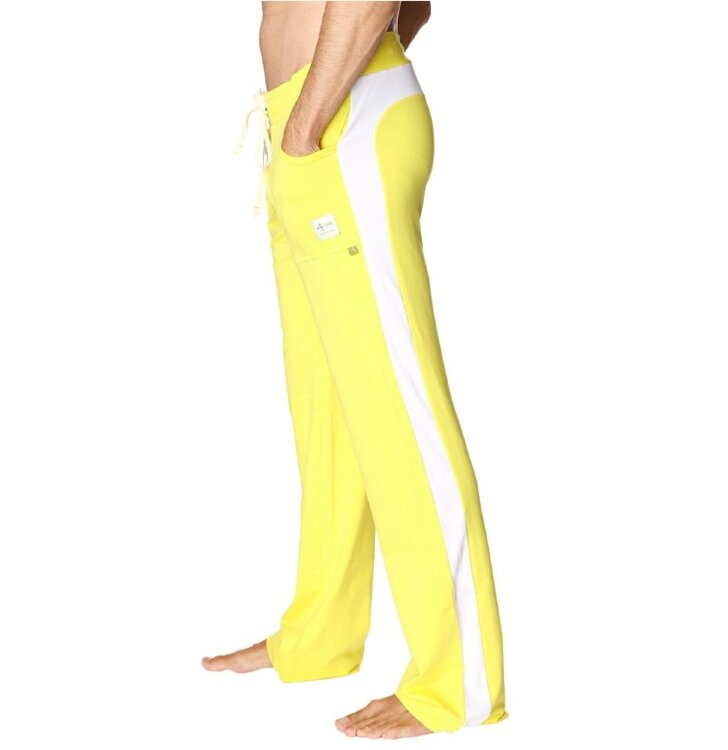 American-made Urban Yoga Men's Track Pants (Yellow w/White)
