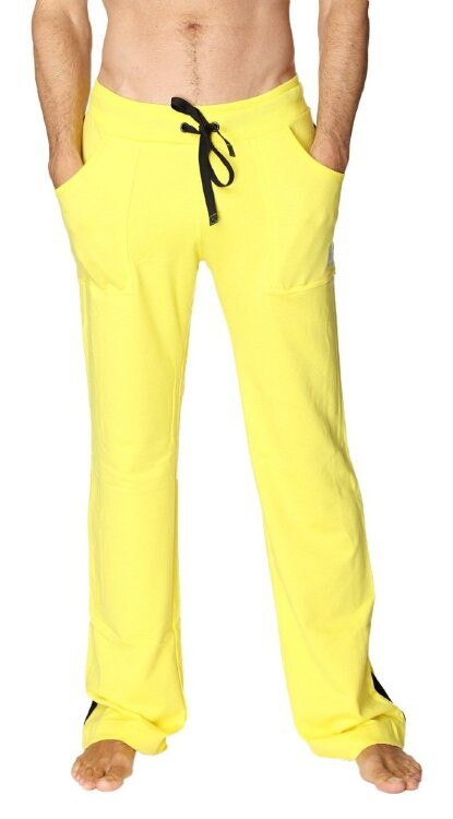 Eco-Track Yoga Pants for Men (Yellow w/Black) - front view