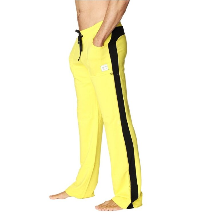 Comfortable Yoga Track Pants with Pockets (Yellow w/Black)