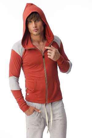 Men's Crossover Transition Hoodie for Yoga & Pilates (Cinnabar Grey)