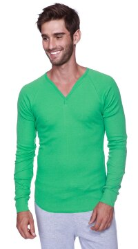 Organic Yoga Thermal Shirt V-neck Long Sleeve (Bamboo Green)