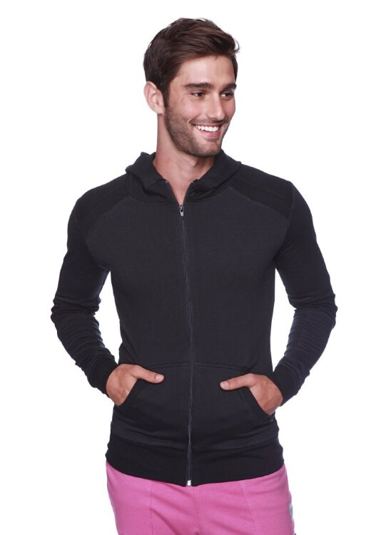 Crossover Hoodie for Yoga (Solid Black w/Black Zipper) - front view