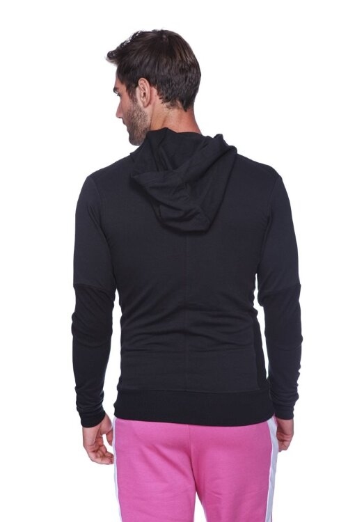 Crossover Hoodie for Yoga (Solid Black w/Black Zipper) - back view