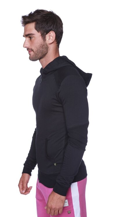 Crossover Hoodie for Yoga (Solid Black w/Black Zipper) - side view