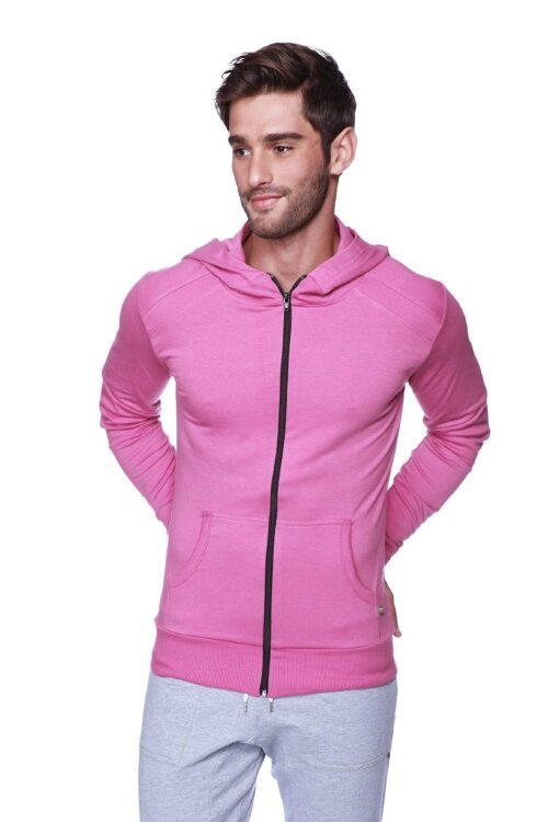 Organic Crossover Yoga Hoodie for Men (Berry)