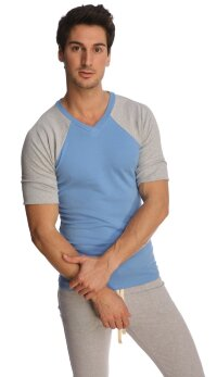 Raglan Virtual Crew Neck (Ice Blue w/Grey)