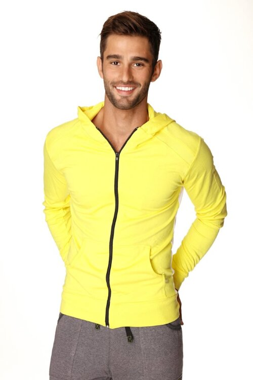 Crossover Hoodie for Yoga (Tropic Yellow w/White) - front view