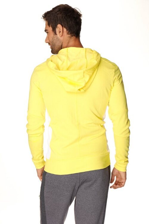 Crossover Hoodie for Yoga (Tropic Yellow w/White) - back view