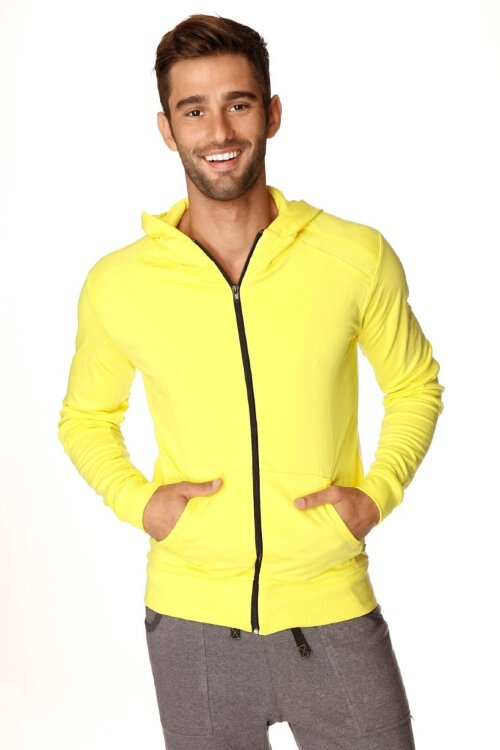 Fashionable Crossover Transition Yoga Hoodie for Men (Tropic Yellow w/White)