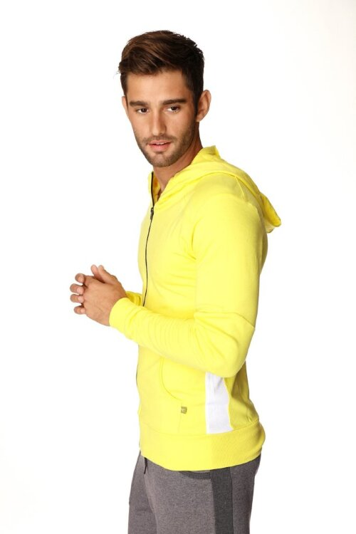 Crossover Hoodie for Yoga (Tropic Yellow w/White) - side view
