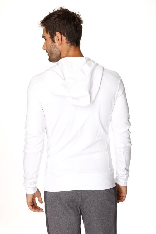 Crossover Hoodie for Yoga (White w/Black Zipper) - back view