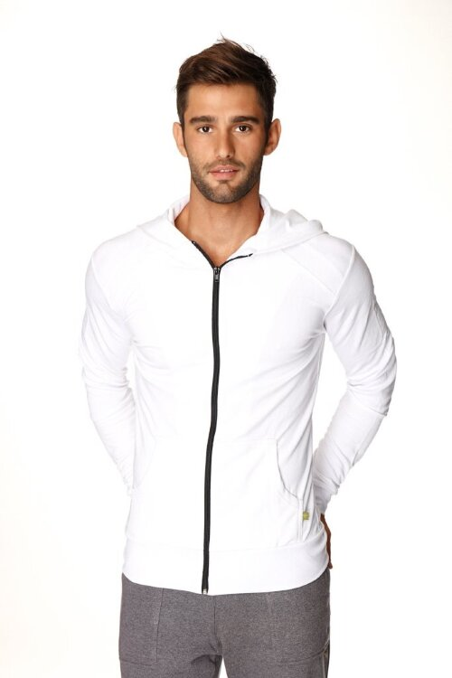 Sustainable Men's Crossover Yoga Hoodie (White w/Black Zipper)