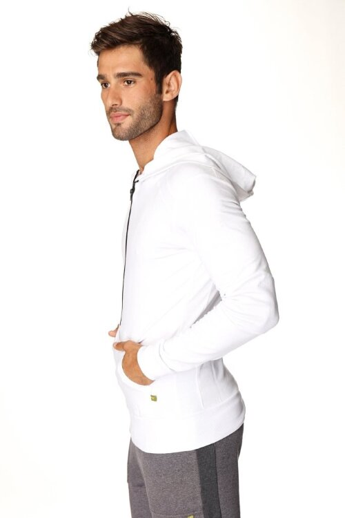 Crossover Hoodie for Yoga (White w/Black Zipper) - side view