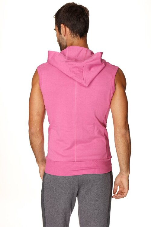 Sleeveless Yoga Hoody for men (Berry) - back view