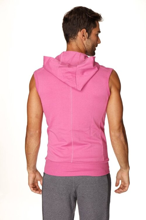 Men's Fashion Sleeveless Transition Workout Hoodie (Berry)