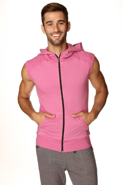 Sleeveless Yoga Hoody for men (Berry) - front view