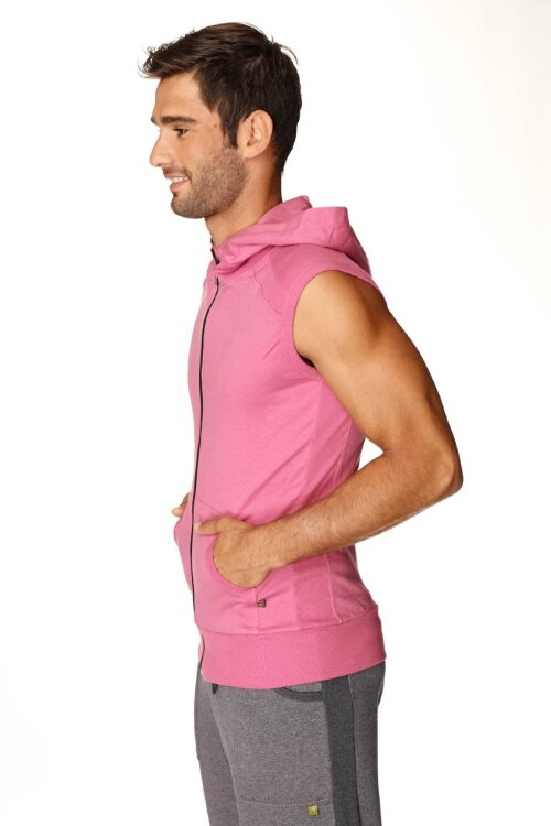 Sleeveless Yoga Hoody for men (Berry) - side view