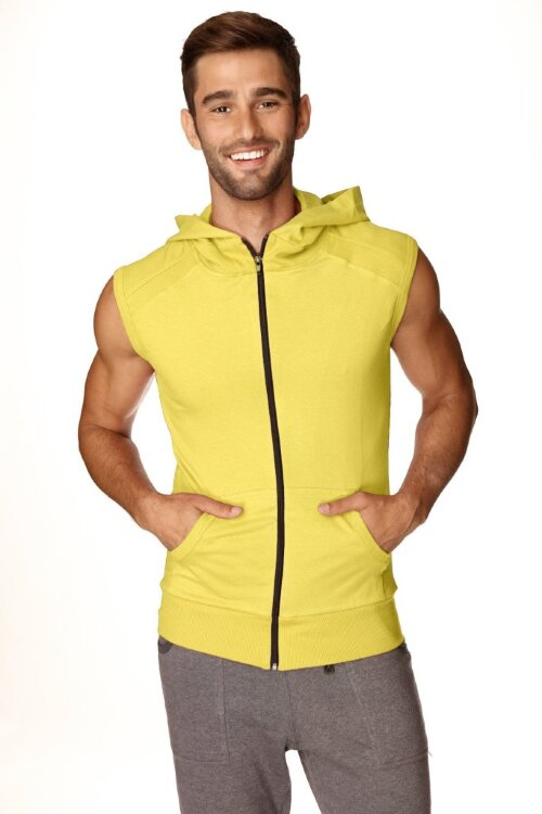 Sleeveless Yoga Hoody for men (Tropic Yellow) - front view