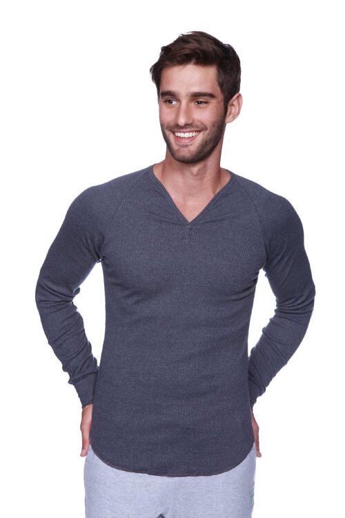 Workout Thermal Shirt V-neck Long Sleeve Henley (Bamboo Green)
