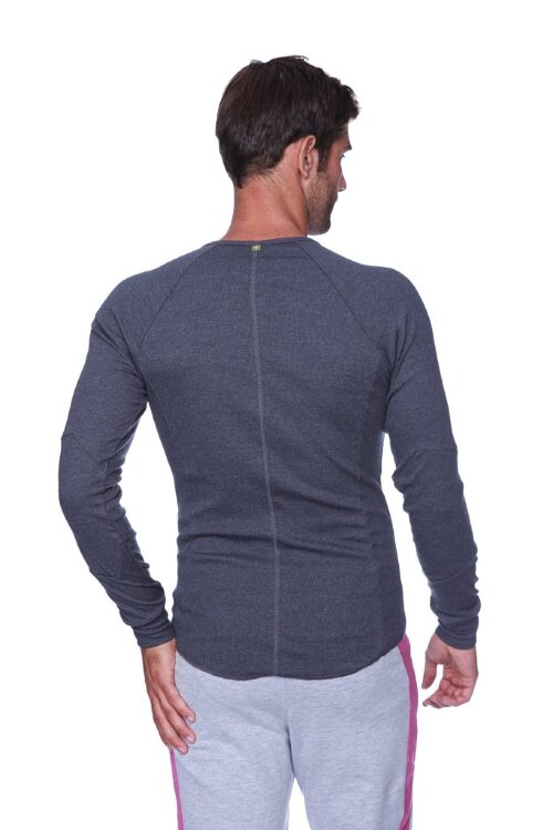 Thermal V-neck Long Sleeve (Charcoal) - back view