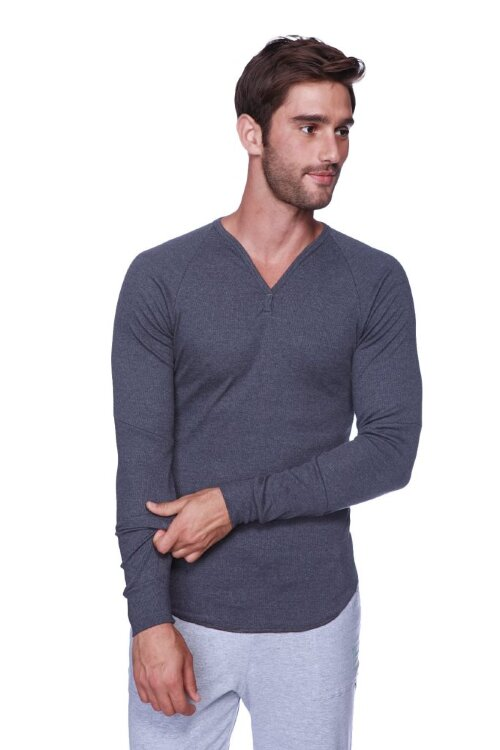 Thermal V-neck Long Sleeve (Charcoal) - front view