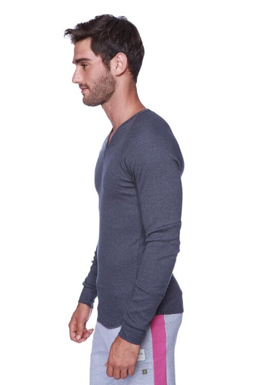Thermal V-neck Long Sleeve (Charcoal) - side view