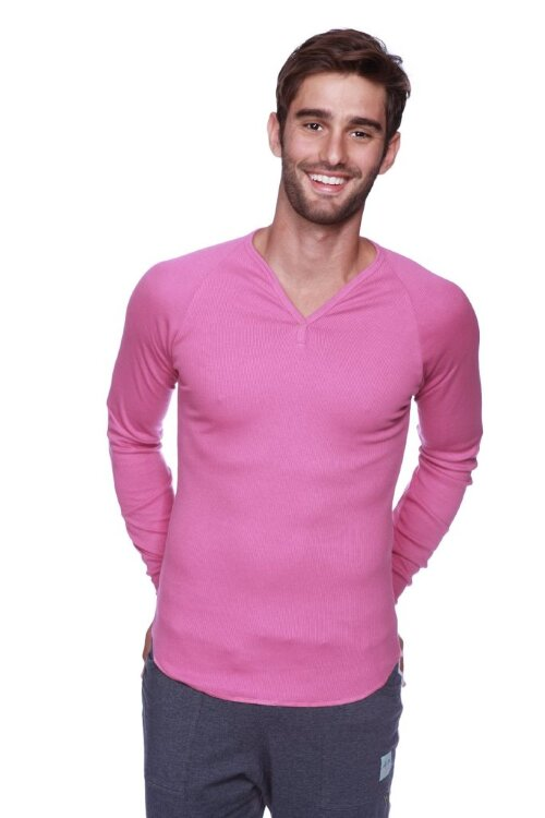 Eco-friendly Men's Ribbed Thermal Shirt V-neck Long Sleeve for Yoga (Berry)