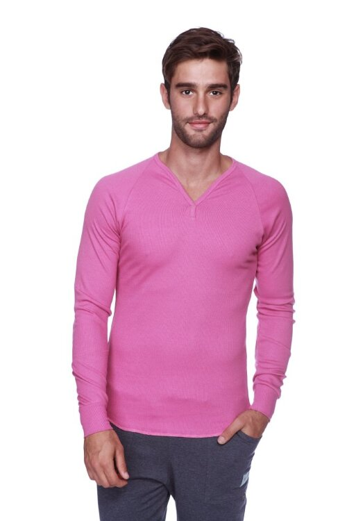 Thermal V-neck Long Sleeve (Berry) - front view