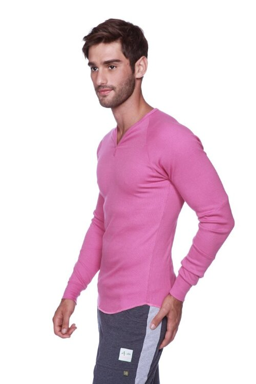 Thermal V-neck Long Sleeve (Berry) - side view