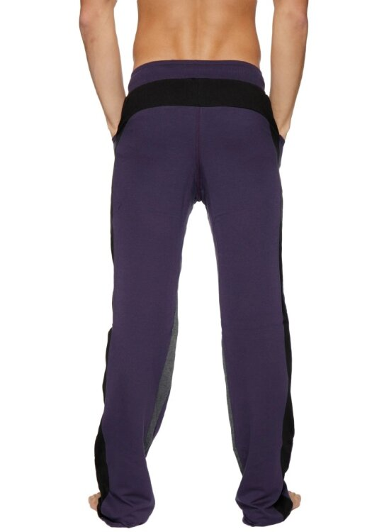 Ultra Flex Yoga Track Pants for Men (Eggplant w/Black & Charcoal)
