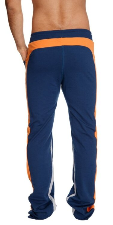 Ultra Flex Yoga Track Pants for Men (Royal Blue w/Orange & Grey)
