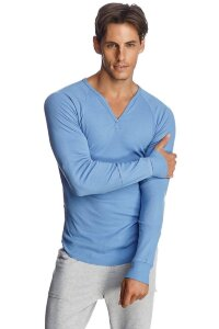 Organic Thermal V-neck Yoga Shirt Long Sleeve (Ice Blue)