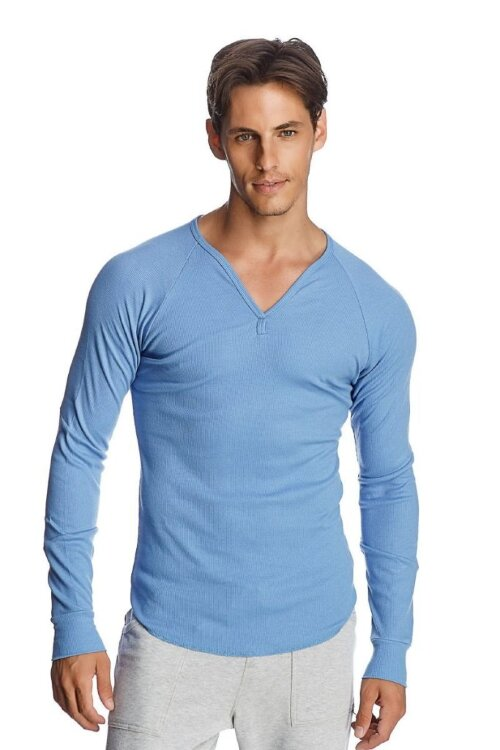 Thermal V-neck Long Sleeve (Ice Blue) front view