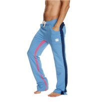 Mens Dress Yoga Style Track Pants (ICE blue w/Royal & Berry)