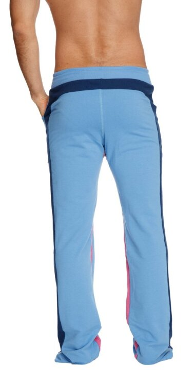 Mens Dress Yoga Style Pants (Ice blue w/Royal & Berry)