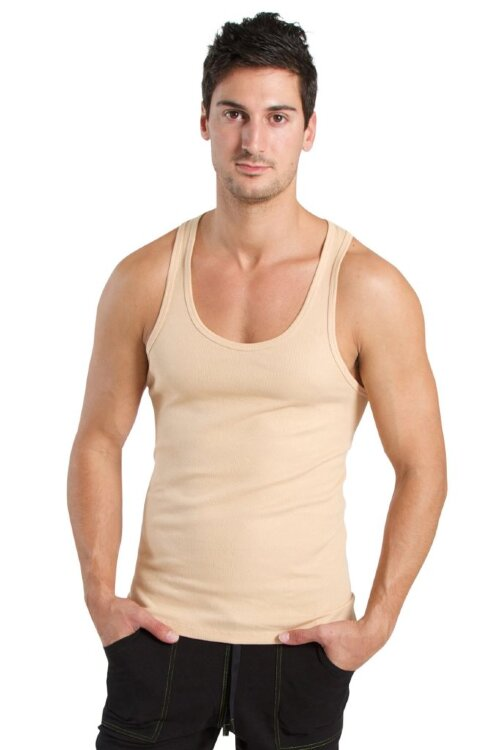 Sustain Tank Top for Yoga (Sand Beige) - front view