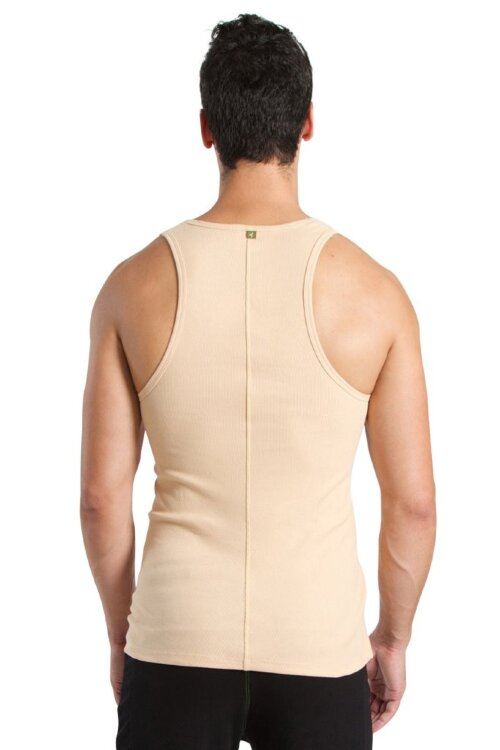 Sustain Tank Top for Yoga (Sand Beige) - back view