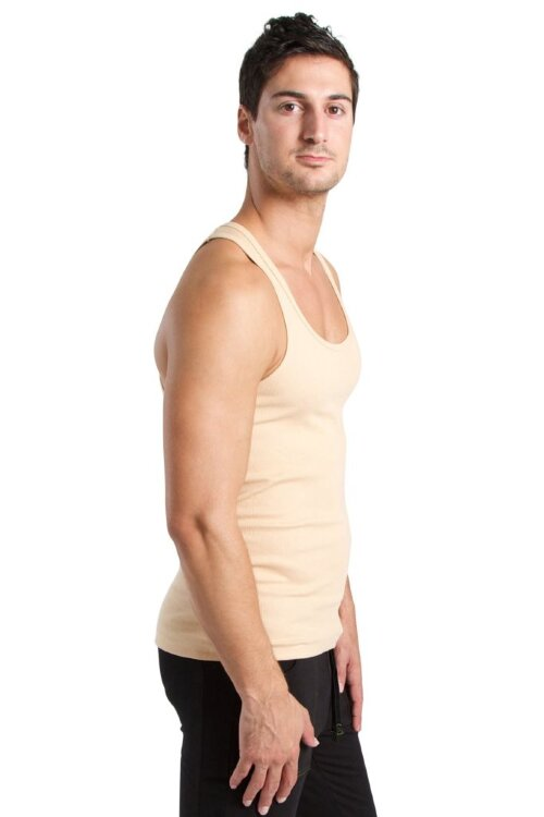 Sustain Tank Top for Yoga (Sand Beige) - side view