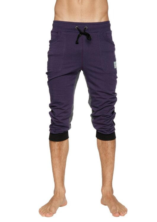 Ultra-Flexible Tri-color Cuffed Yoga Pants (Eggplant w/Black & Charcoal)