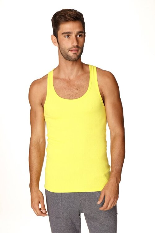 Sustain Tank Top for Yoga (Tropic Yellow) - front view
