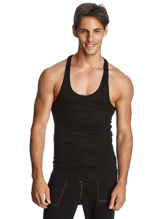 Racer-back Yoga Tank (Black) - front view
