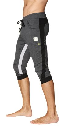 Ultra-Flex Tri-color Cuffed Yoga Pant (Charcoal w/Black & Grey)