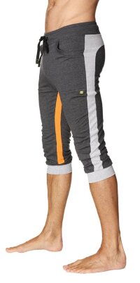 Ultra-Flex Tri-color Cuffed Yoga Pant (Charcoal w/Grey & Orange)