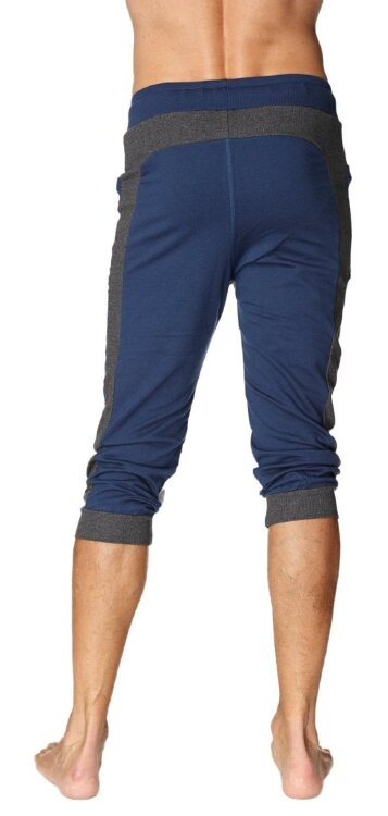 Ultra-Flex Organic Cuffed Yoga Pants for Men in Tri-color (ROYAL w/Charcoal & Grey)