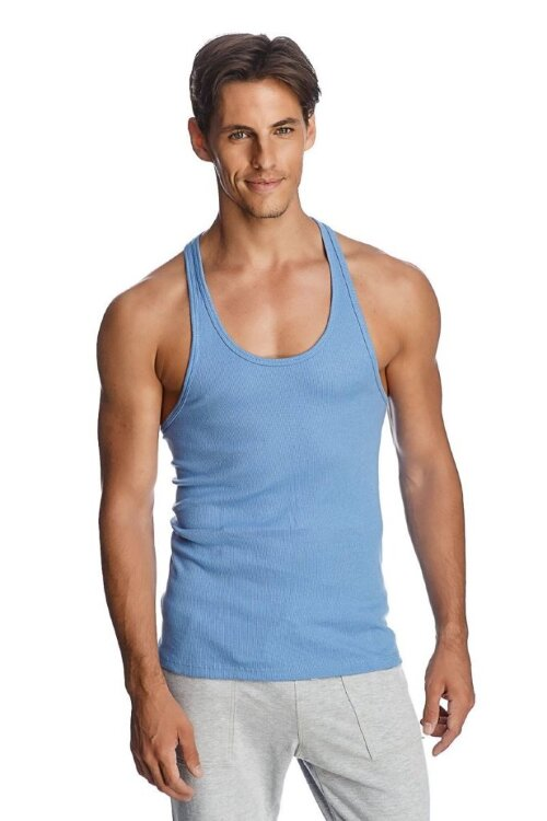 Racer-back Yoga Tank (Ice Blue) - front view