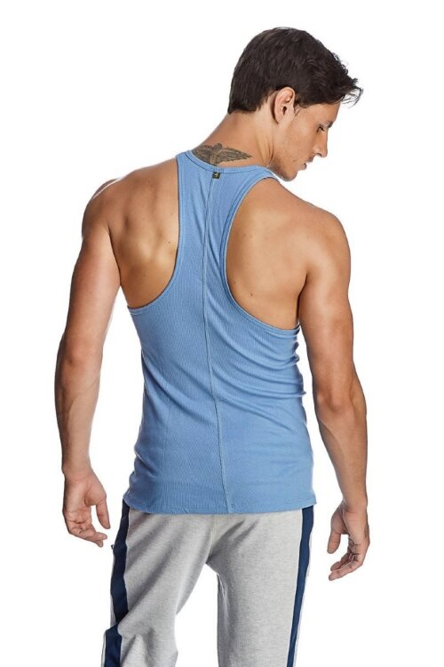 Racer-back Yoga Tank (Ice Blue) - back view