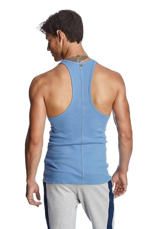 Ribbed Racerback Yoga Tank Top for Men (Ice Blue)