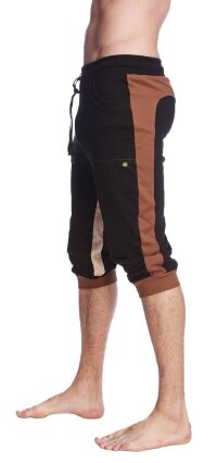 Ultra-Flex Tri-color Cuffed Yoga Pant (Black w/Chocolate & Sand)
