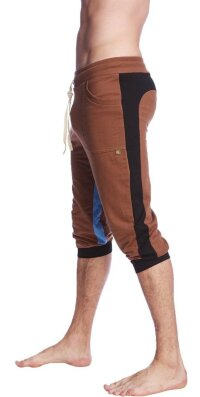 Ultra-Flex Tri-color Cuffed Yoga Pant (Chocolate w/Black & Ice)
